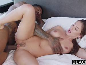 Sexy nurse ends riding enormous black rod on a home call