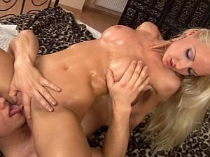 Pretty blonde Veronika Simon enjoys it from behind