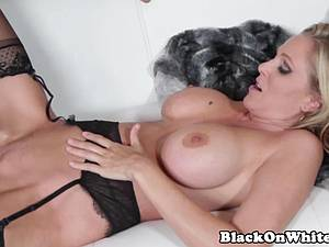 Blonde cougar fucking a black stud