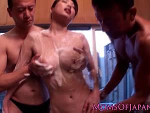 Attractive Akari Hoshino soaps up her hairy beaver