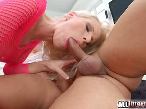 Lovely girl licks the cum out of her lover's pink pussy