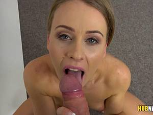 Blonde amateur with extremely high sex drive on a casting
