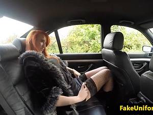 Redhead street whore gets picked up by a fake cop