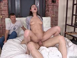 Horny guy watches while his buddy fucks his beautiful girlfriend Arwen